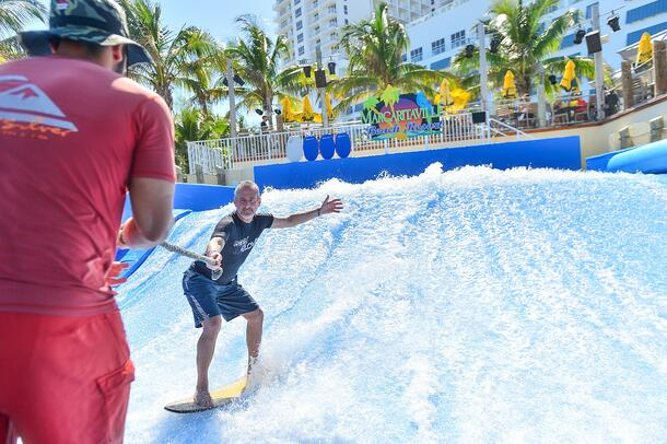 Social activities at RestaurantSpaces 2017 included surf lessons on a FlowRider.