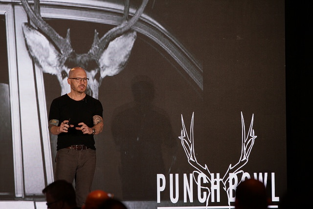 Founder and CEO of Punch Bowl Social Robert Thompson talking at RestaurantSpaces